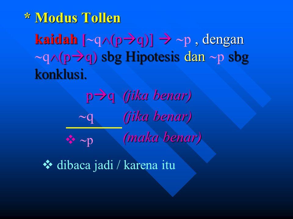 * Modus Tollen kaidah [q(pq)]  p , dengan q(pq) sbg Hipotesis dan p sbg konklusi. pq (jika benar)